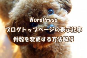 WordPressブログトップページの表示記事件数を変更する方法解説